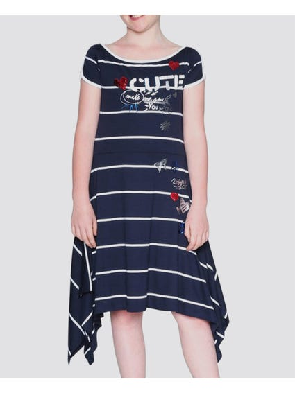 Asymmetric Hem Stripe Kids Dress