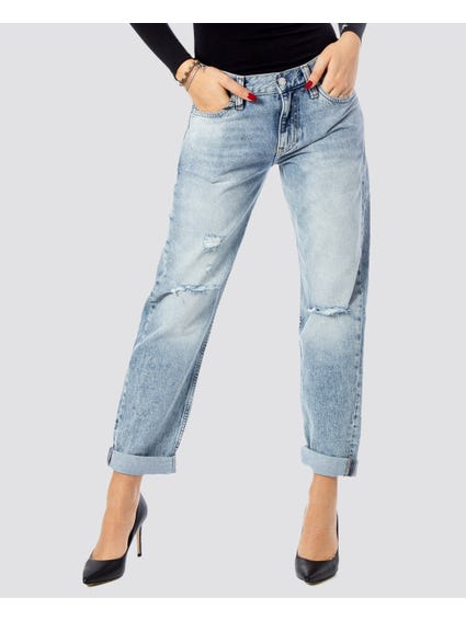 Ripped Folded Hem Flared Jeans