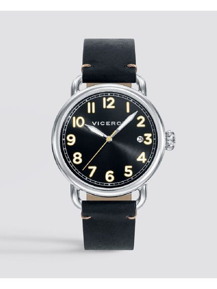 Heritage Black Dial Leather Watch