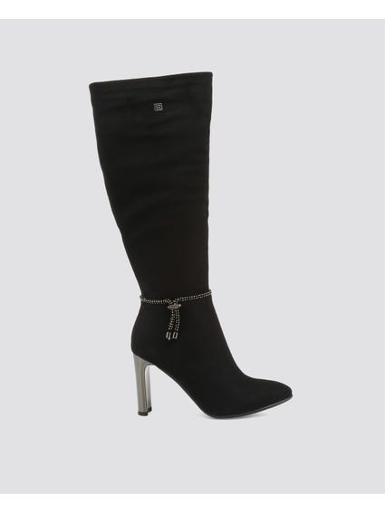 Embellish Zipper Suede Boots