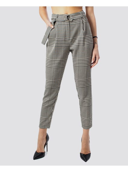 Checked D-Ring Belted Trouser