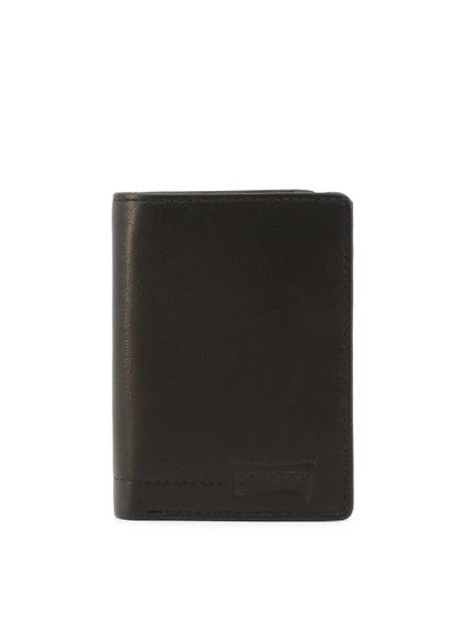 Black Leather Logo Bi Fold Wallet