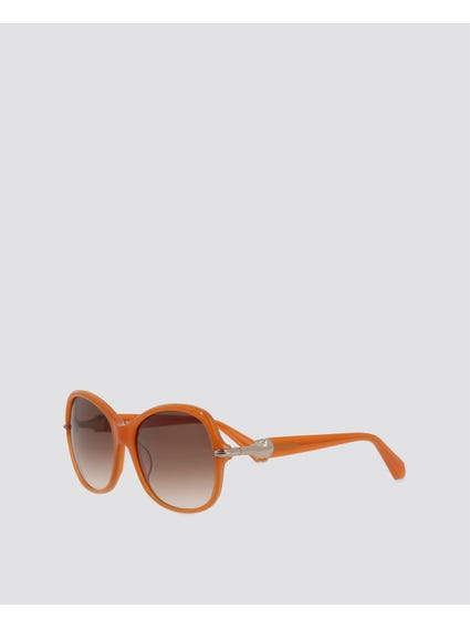 Brown Acetate Rectangular Sunglasses