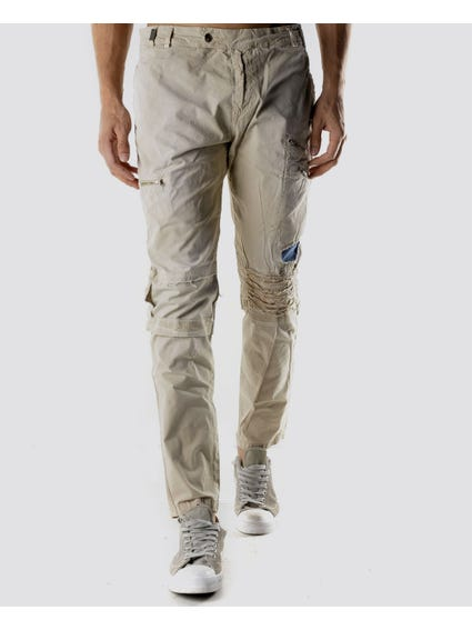 Beige Worn Appearance Pants