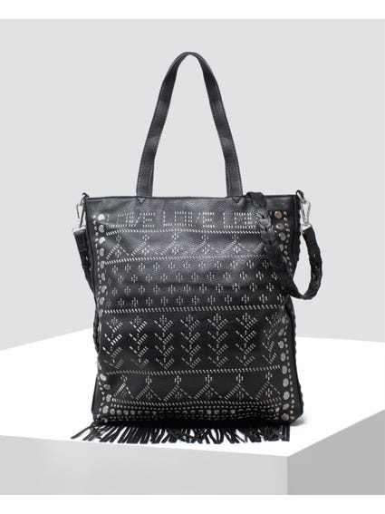 Black Full Front Pattern Design Tote bag