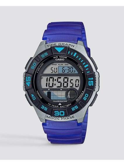 Blue Resin Band Digital Quartz Watch