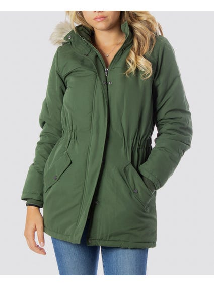 Green Faux Hooded Jacket
