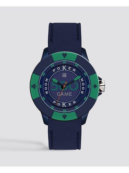 Blue Green Silicone Poker Quartz Watch