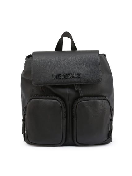 Black Leather Handle Pack Multi Pocket Backpack