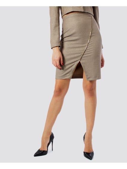 Beige Front Slit Skirt
