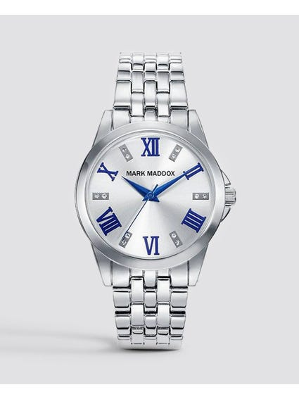 Silver Full Linked Stainless Steel Watch