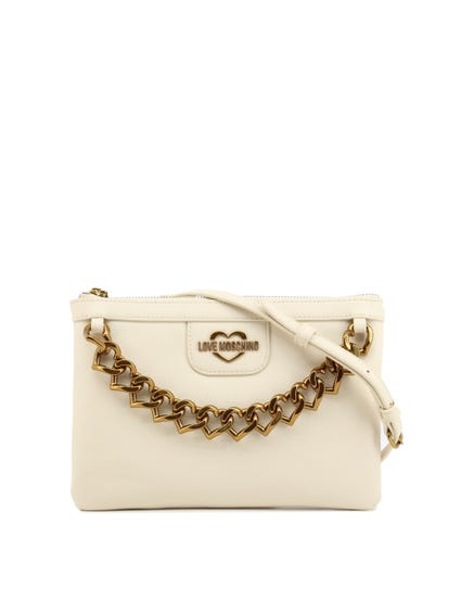 White Chain Strap Clutch Bag
