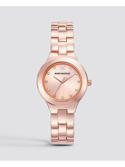 Rose Gold Crystal Indices Analog Watch