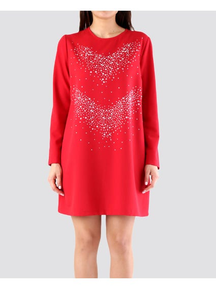 Red Embellished  Dress