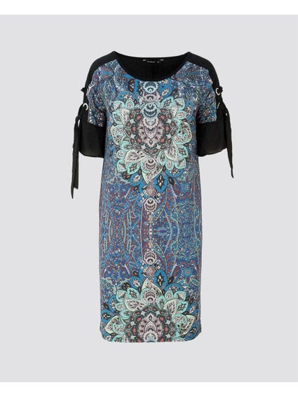 Printed Lace Sleeves Dress