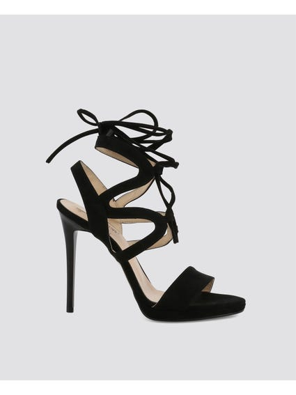 Black Tie-Up Gladiator High Heel Sandals