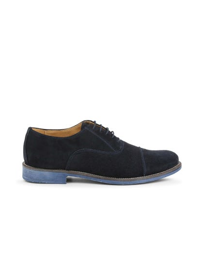 Blue Suede Perforated Lace Up Shoes