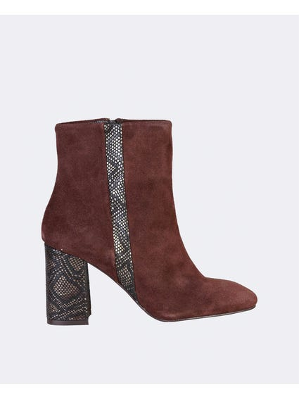 Brown Ilary Python Detail Ankle Boots
