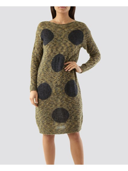 Knitted Polka Dots Print Dress