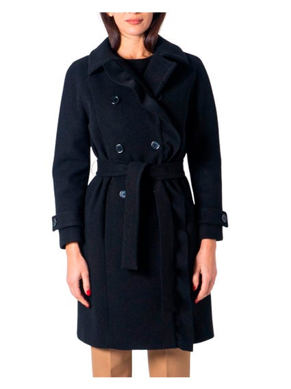 Black Maicol Rouches Coat