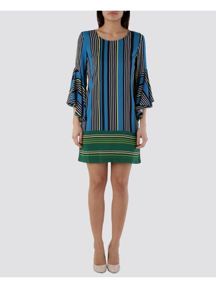 Blue Pattern Stripes 3/4 Sleeve Dress