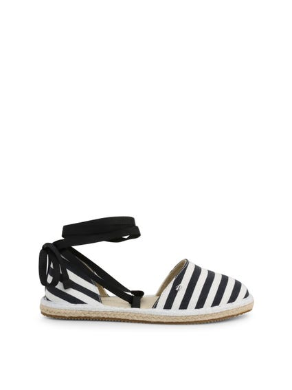 Round Toe Striped Espadrille Sandals