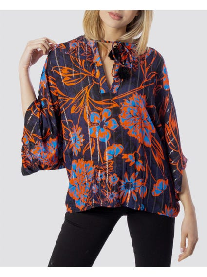 Floral Batwing Sleeve Blouse