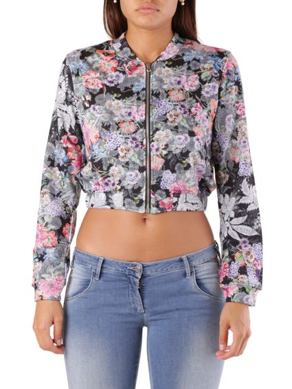 Floral Zip Crop Sweatshirt