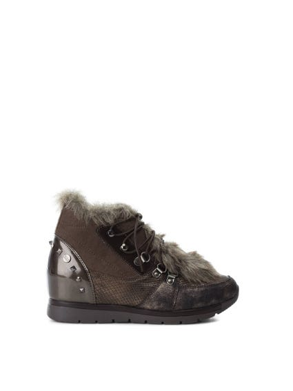 Brown Textured Fur Lace Sneakers