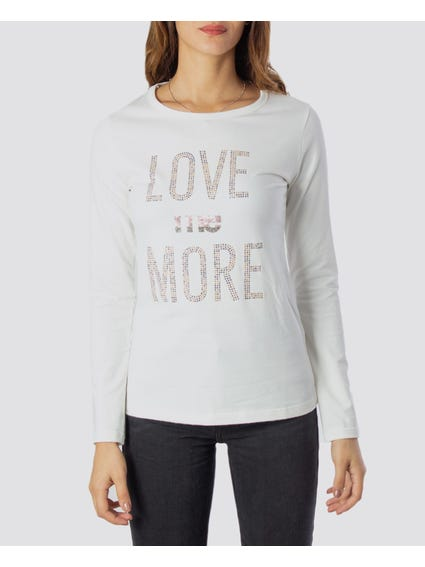 Love Me More Printed White T-Shirt