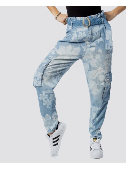 Belted High Rise Floral Trouser