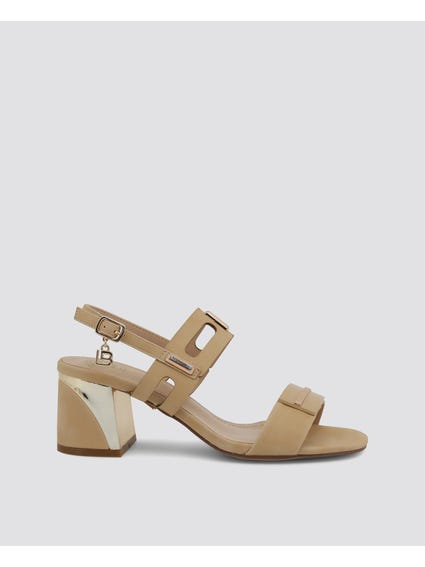 Beige Strappy Leather Sandals