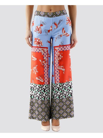 Elasticated Contrast Pattern Trouser