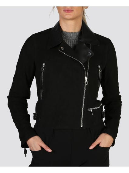 Leather Collar Jacket