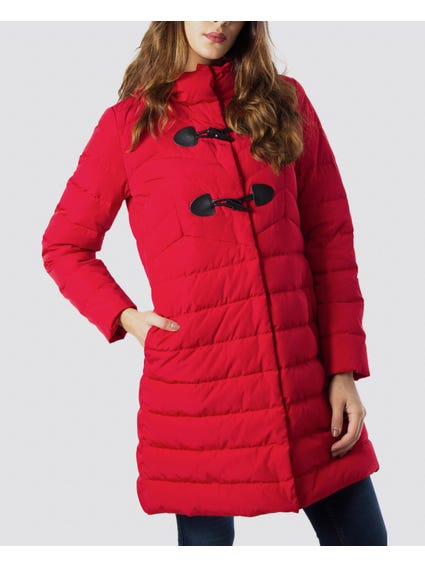 Red Quilted Toggle Jacket