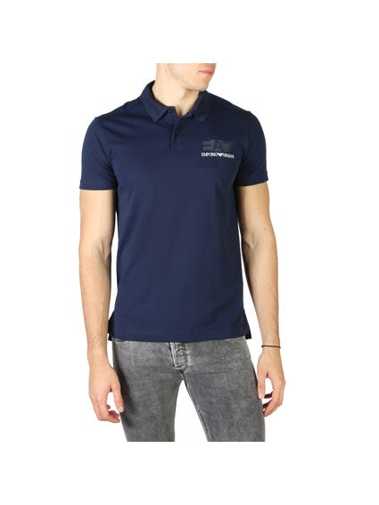 Blue Left Chest Printed Logo Polo Shirt