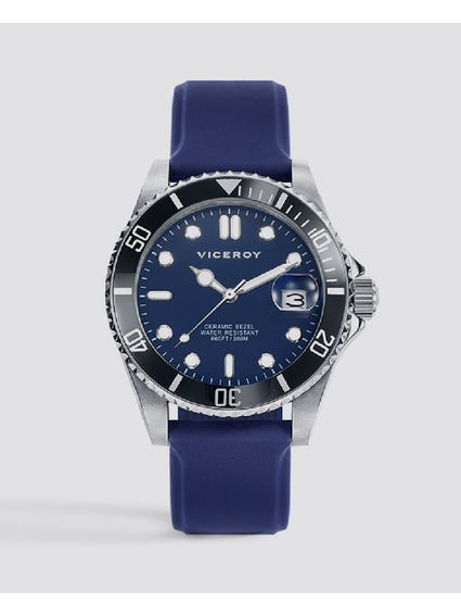Magnum Blue Dial Silicon Strap Watch