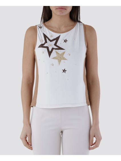 Embellished Star Sleeveless Top