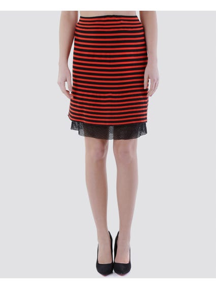 Orange Striped Elasticated Striped Skirt
