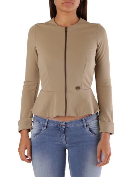 Full Zip Long Sleeve Knitted Top