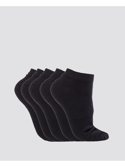Black 5 Packs Plain Liner Socks