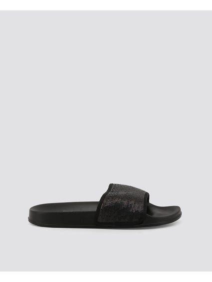 Black Ivy Metallic Slides