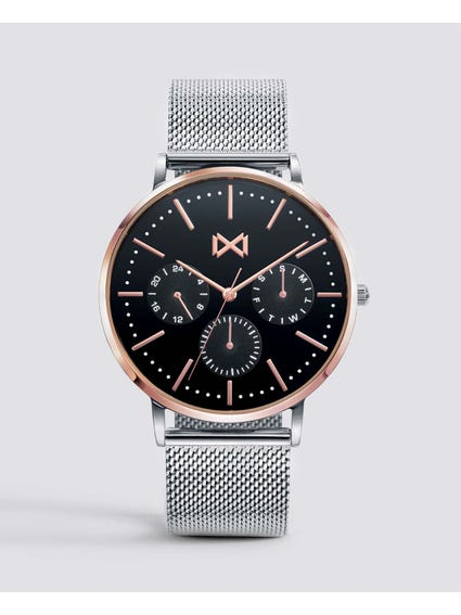 Greenwich Black Dial Stainless Steel Watch