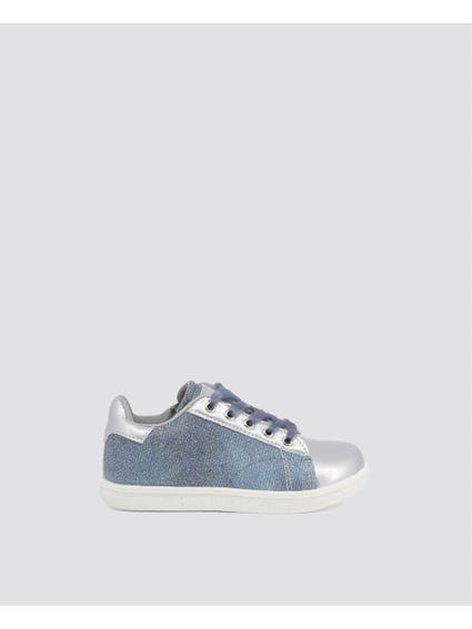 Blue Glitter Kid Sneakers