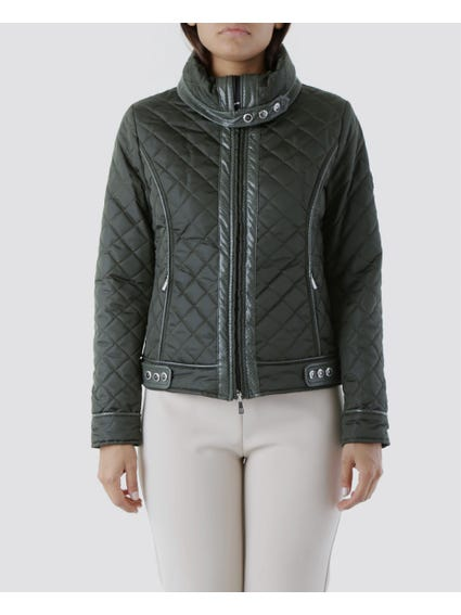Green High-Neck Side Pocket Jacket
