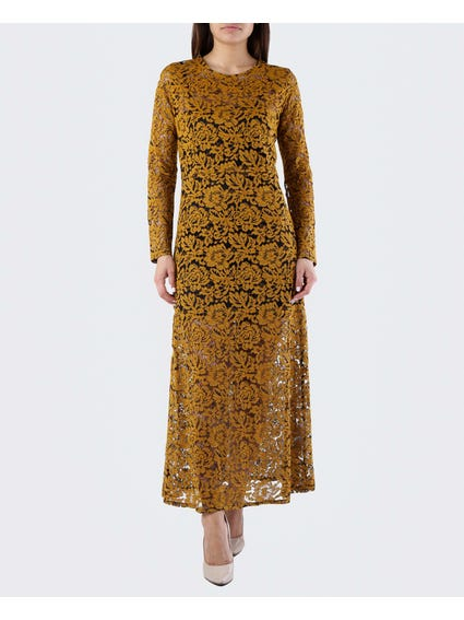 Yellow Crew Neck Lace Maxi Dress
