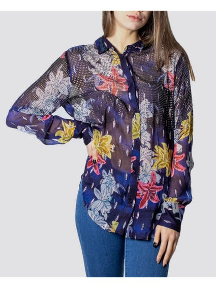 Floral Sheer Fabric And Rhinestones Shirt
