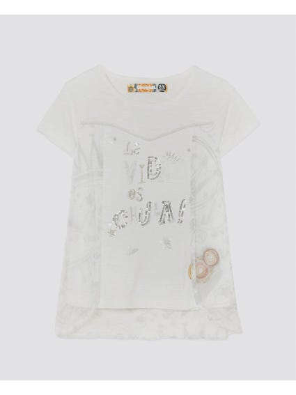 White Printed Kids Top