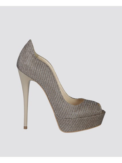 Silver Scallop Design Pumps