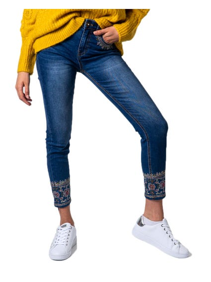 Denim Embroider Hem Jeans